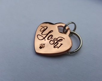 Small Custom Pet ID Tag - Heart Dog Tag - Cute - Pure Copper - Collar Tag - Rose Gold Color Metal