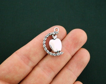 4 Apple Charms Antique Silver Tone 2 Sided - Rotating Charm - Really Spins! - SC6067