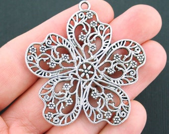 Large Flower Charms Antique Silver Tone Ornate Details - SC5021