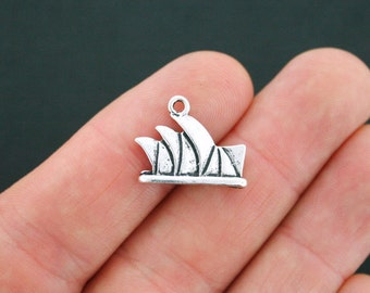 5 Sydney Opera House Charms Antique Silver Tone 2 Sided - SC1209
