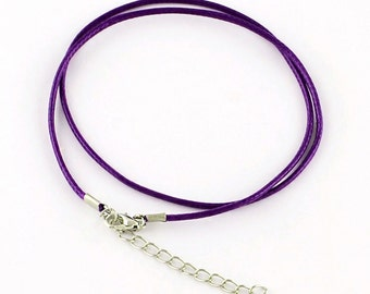 """5 Waxed Cord Necklaces 18.7"""" Violet Purple with Alloy Lobster Claw Clasps - N226"""