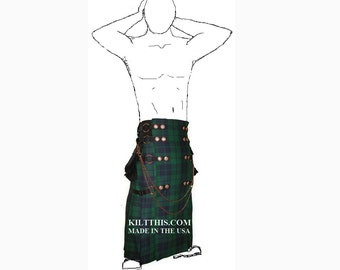 Interchangeable Black Watch Tartan Full Length Utility Kilt Handmade Lined Soft Fleece Large Cargo Pockets Adjustable Custom Fit