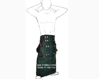 Interchangeable Black Watch Tartan Full Length Utility Kilt Handmade Lined Soft Fleece Large Cargo Pockets Adjustable Custom Fit