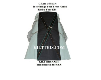 Interchangeable Utility Kilt Front Apron Sold Separately - X - Gear Design - Black with Green X