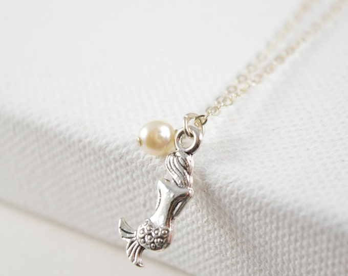 Mermaid Necklace, Sterling Silver Necklace, Mermaid Pendant, Fantasy Jewelry