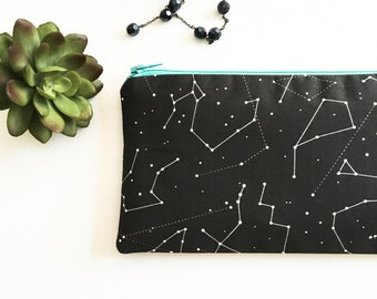 Zodiac Zipper Pouch, Gift for Women, Black Pencil Pouch, Pencil Case, Constellation Pouch Purse, Jewelry Bag, Best Friend Gift, Co-Worker