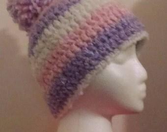 Girls Pompom Beanie, Crochet Hat