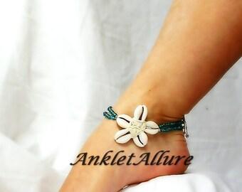 Cowrie Flower Anklet Beach Body Jewerly Beach Ankle Bracelet Double Anklet Flower Anklet Ocean Blue Cruise Vacation Beach Resort