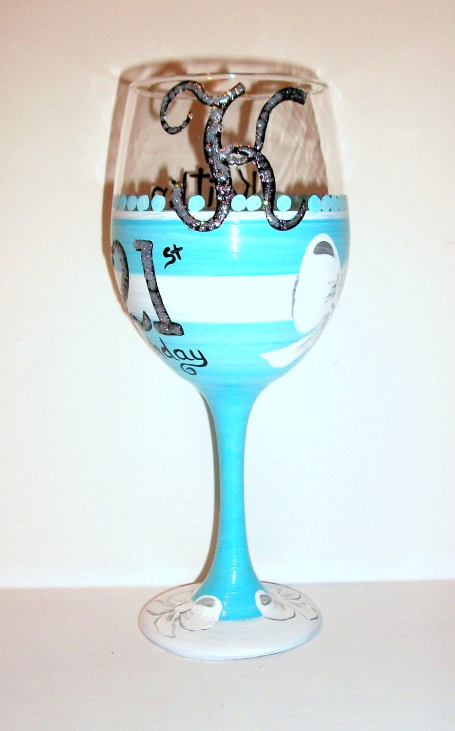 21st birthday happy birthday hand painted wine glass name for Hand painted glassware
