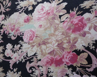 ANTIQUE FRENCH FABRIC stunning fabric fabulous colours French barkcloth French chintz