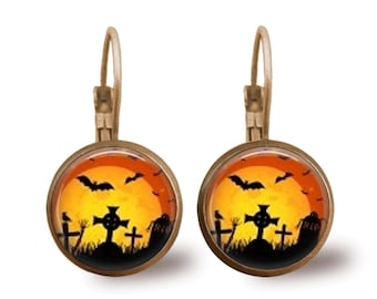 Halloween Jewelry Halloween Earrings  Brass Jewelry Holiday Jewelry Bat Jewelry Bat Earrings Brass Earrings Orange Earrings Black Jewelry