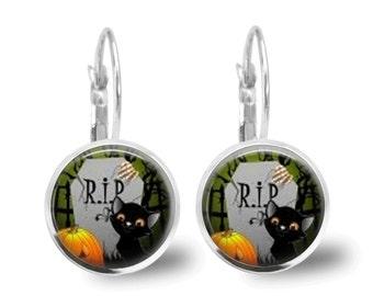 Halloween Jewelry Halloween Earrings Cat Jewelry Cat Earrings Pumpkin Earrings Pumpkin Jewelry Brass Jewelry Holiday Jewelry Silver Jewelry