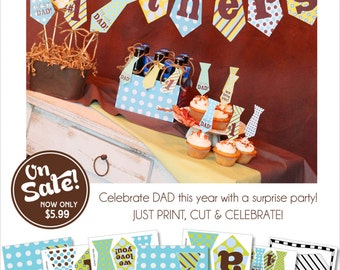 Fathers Day Party | Father's Day Decorations | Father's Day Gift | Father's Day Centerpiece  | Father's Day Banner | Amanda's Parties To Go