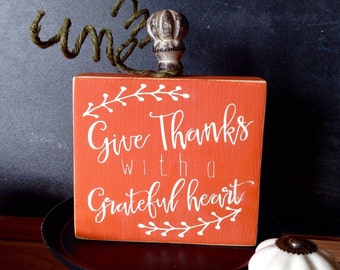 Fall Decor Wood Pumpkin, Give Thanks With A Grateful Heart, Thanksgiving Decor, Painted Wood Pumpkin, Handmade Fall Decor, Give Thanks