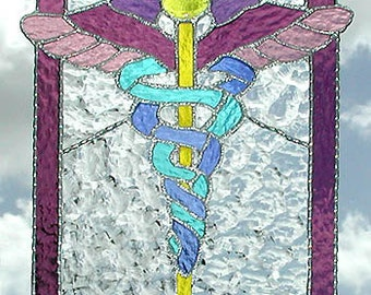 """Caduceus - Stained Glass Sun Catcher -Medical Symbol - Physician - Handcrafted Stained Glass Suncatcher -Gift for Doctor - 14"""" - 9756-MM"""