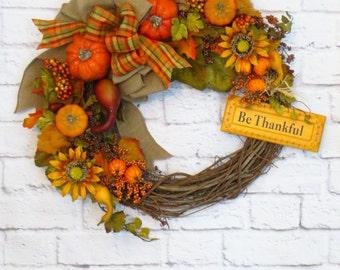 Fall Wreath, Thanksgiving Wreath, Fall Decor, Autumn Wreath,  Harvest Wreath, Be Thankful