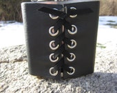 Black Leather Corset Cuff Wrap on Stainless Steel Hip Flask  with Funnel Biker Rocker Goth Gifts for Men & Women  Z1010
