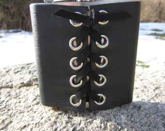 Hip Flask Black Leather Corset Cuff Wrap on Stainless Steel with Funnel Biker Rocker Goth Gifts for Men & Women  Z1010