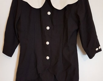 Vintage 1980's black and white blouse top
