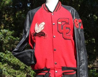 Vintage Letterman Jacket Varsity Jacket Wool Leather Red and Black 80s