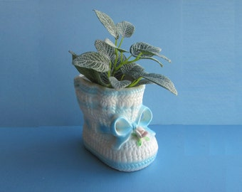 Vintage Planter Nancy Pew Giftwares 7219  Ceramic Baby Bootie Blue And White Sock Shower Centerpiece New Baby Gift Succulent Planter