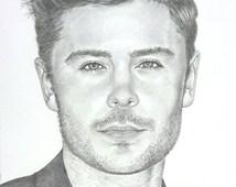 Drawing of Zac Efron celebrity pencil portrait custom