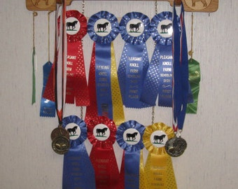 Maple Rosette Ribbon Display for Dog, Horse or Other Winner Show Award Display and Wall Shelf, Participation Ribbons, Medals and Trophies