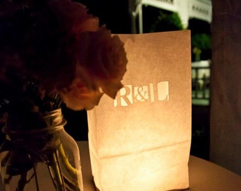 Personalized Wedding Candle Luminary Bag (White) with Custom Laser Cut Monogram