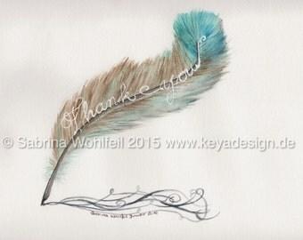 "Original watercolour ""Quill Thank you"""