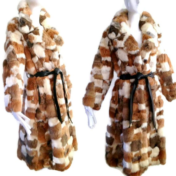 ViNtAgE 70's Patchwork Real Rabbit Fur Coat Multi Long Fur Belted Coat Chubby Shaggy Fluffy Soft Tench Princess Sears Maxi M boho