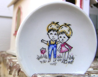 Kawaii Kids Tiny Decorated Vintage Japan Ceramic Plate