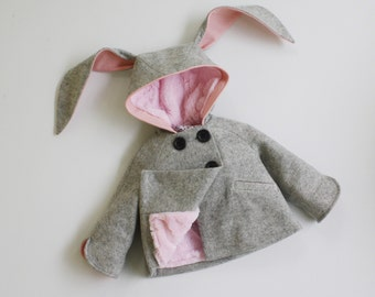 Girls Bunny Coat// Girls Handmade Clothing// Grey Wool Bunny Jacket// Baby Bunny Coat// Toddler Girl Clothing// Easter Bunny // Winter