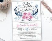 Baby Its Cold Outside Baby Shower Invitation - Antlers  - Rustic baby shower invitation - Printable Digital