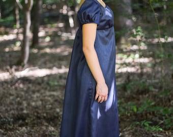Regency Gown, Reenactment, Costume, Shantung Navy, Size Misses 6
