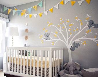 Koala Tree Wall Decal Modern Baby Nursery Decor Sleepy Koalas Hanging from a Beautiful Tree Wall Sticker