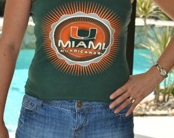 Miami Hurricanes Canes deco sunburst strapless Upcycled repurposed T Shirt top XS - S