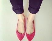 Ballet Flats Shoes Pointy Red Leather Slip on Ballerinas