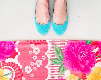 Ballet Flats Shoes in Aqua Blue Robin Egg Soft Suede Scalloped Slip on Ballerinas