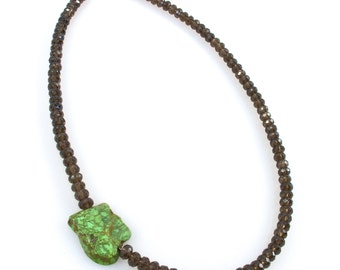 Smokey Quartz and Tibetan Turquoise Necklace - The Smokey Dream Mini