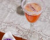 Cocktail sugar for martini making - pastel purple colored rim sugar in bulk for 50 martini glasses