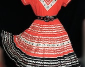 Stunning Vintage 50s 60s red black white silver lame rick rack trim floral squaw patio fiesta southwestern V neckline full circle dress - M