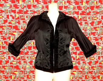 Stunning vintage 40's black velvet embroidered beaded rhinestone floral bombshell pin up new look dolman sleeves jacket by Bernetti