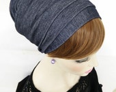 Handmade Lycra wrap around, apron tichel, Jewish head covering, Blue Jeans stretch, by oshratdesignz
