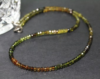 """Genuine Tourmaline Necklace with Sterling Silver 925 Clasp 17"""""""