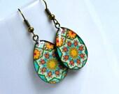 heather bohemian resin drop earrings, antique brass, teardrop, colorful, boho, hippie,