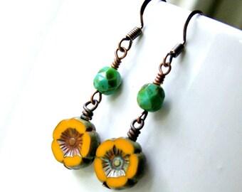 lil goldies, drop earrings, beaded earrings, czech glass, copper, dangle, rustic