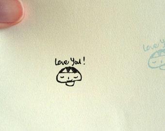Cute Mushroom Stamp - Cute Stamp, Love You Stamp