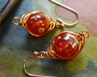 Wire Wrapped Earrings, Orange Fire Agate Gemstone Herringbone Dangle Earrings in Copper, Fire Agate Copper Earrings,