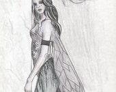 "SALE: Ghost Fairy Art Print / Goth Fantasy Art  / Gothic Art / Dark Faery / Haunted Fairy / Angel / ""I'm Here"" Jacqueline Collen-Tarrolly"
