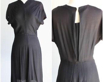 Vintage 1930s 1940s Black Rayon Dress / 40s Crepe Dress / LBD Little Black Dress / Keyhole Back / Flutter Sleeves / Gothic Goth